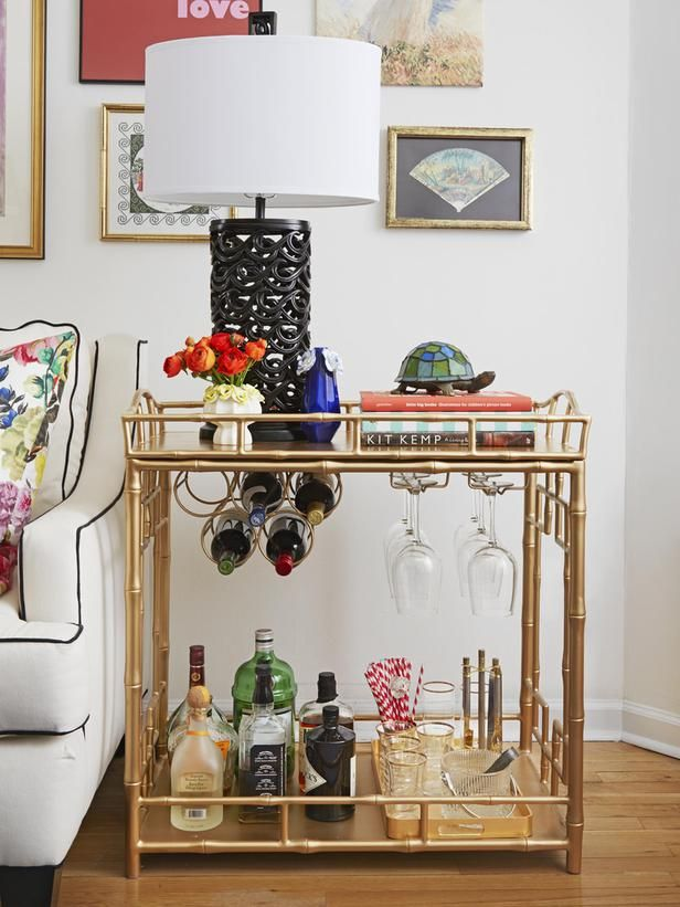 A Bar Cart Doubles As Side Table In This Small Apartment With Style