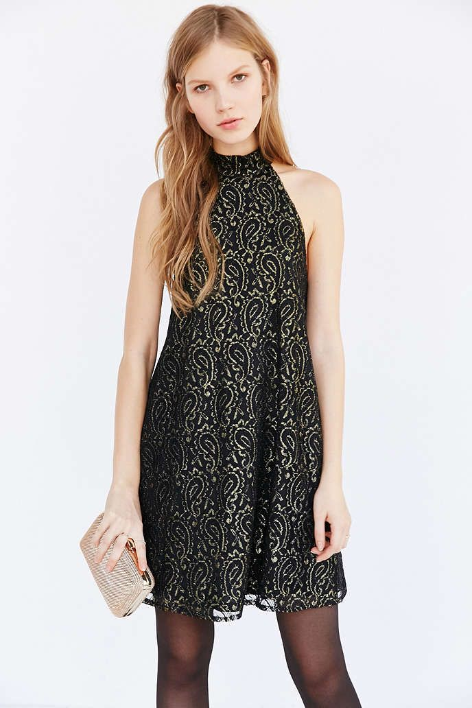 370690e5f9 Ecote Paisley Lace Mock-Neck Dress - Urban Outfitters