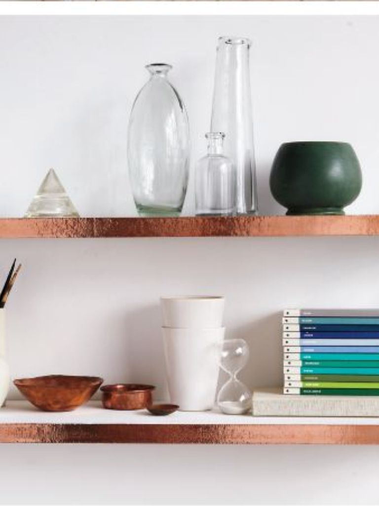 Copper tape as decorative edging on shelves. | Furniture/Decor ...