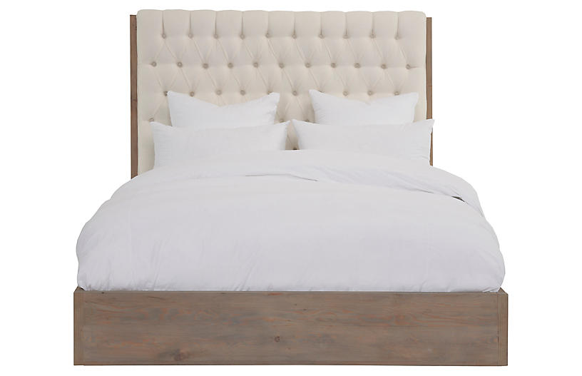 Luxullian Button Tufted Upholstered Wingback Headboard Queen