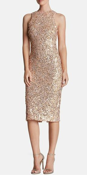 ea07bd60250 Rose gold sequin cocktail dress. Sequin midi dress.