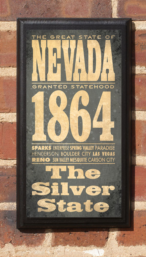 Nevada NV State Wall Art Sign Plaque Gift Present Personalized Color ...