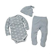 Burt's Bees Baby Boys 3 Piece Organic Cloud Bee Print Bodysuit, Footed Pant and Hat Set