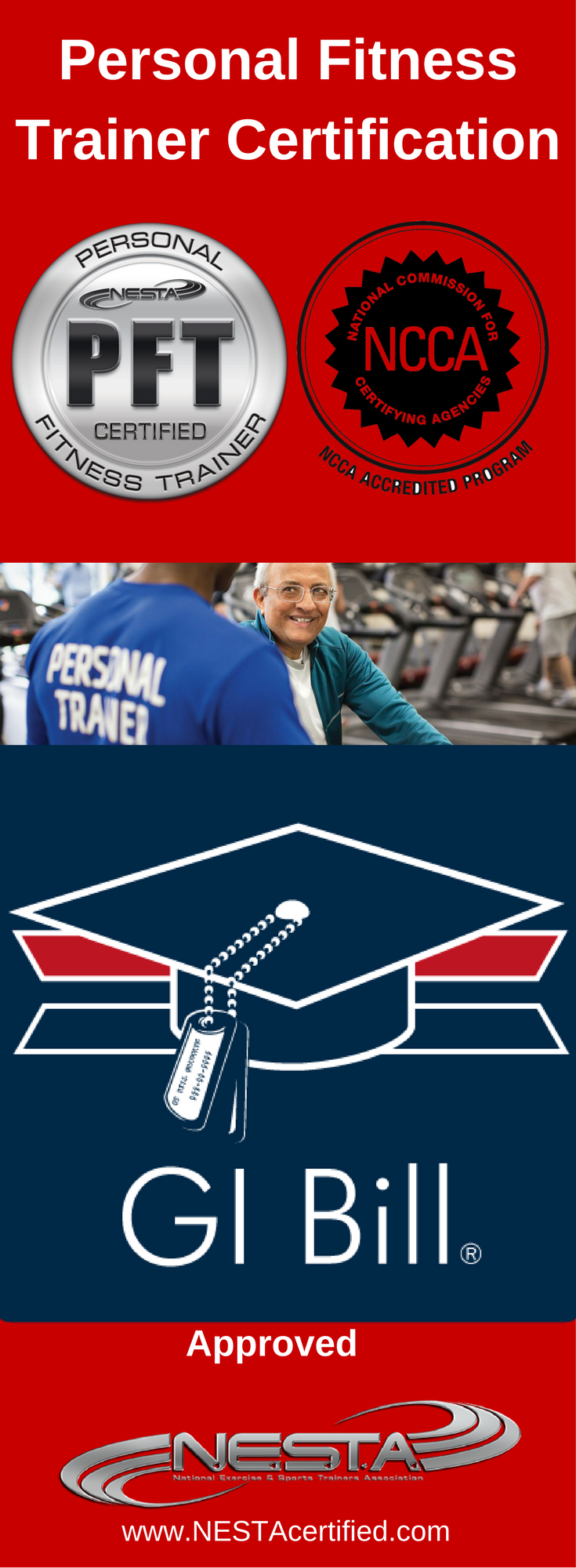 Gi bill aproved personal trainer certification fitness trainer nesta is approved for gi bill reimbursement for the personal fitness trainer certification free certification for approved veterans 1betcityfo Images