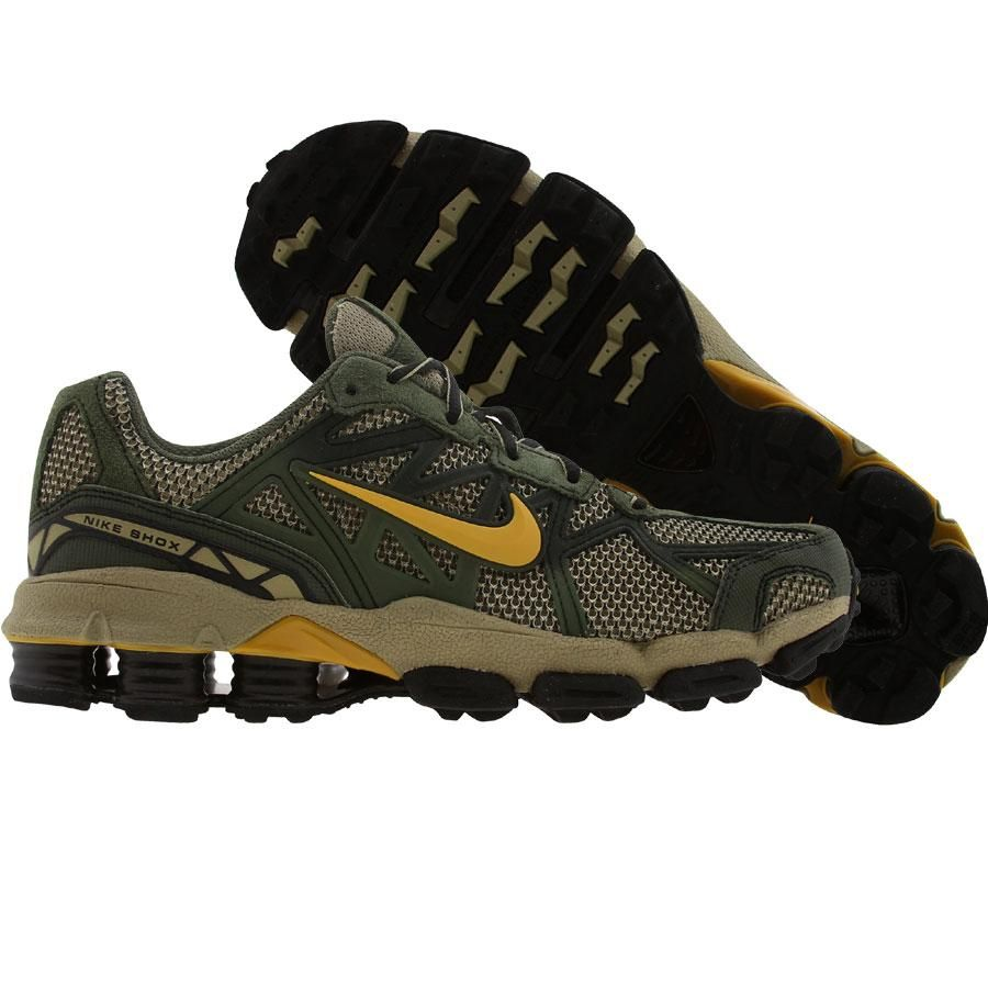 Nike Shox Junga in army olive, mineral yellow and black