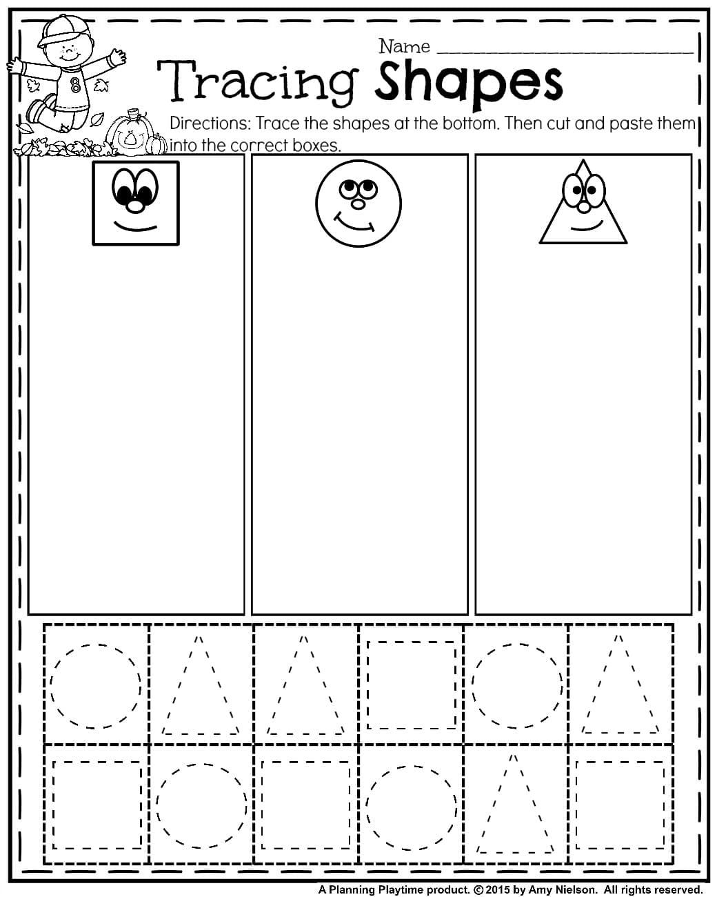 Worksheets Cutting Worksheets For Preschool october preschool worksheets tracing shapes fall and cut paste sort