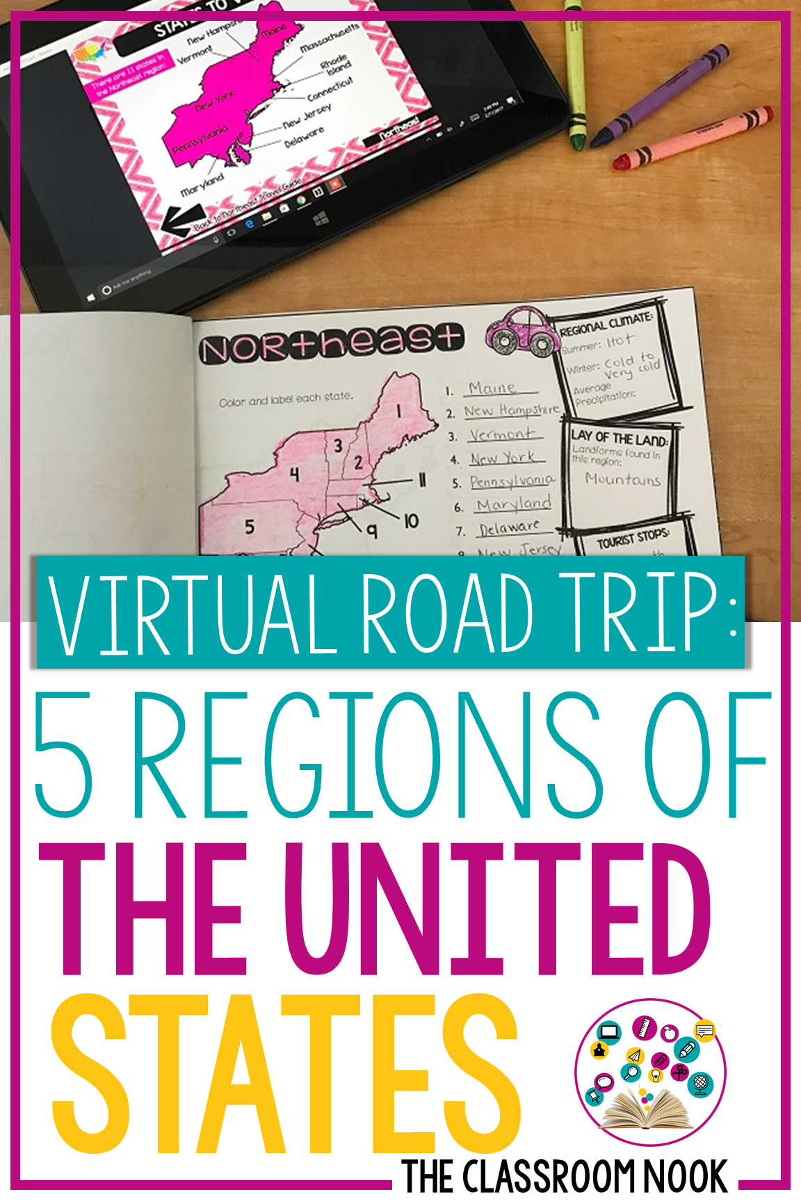 5 Regions Of The United States Linktivity Digital Guide Distance Learning Google Classroom 4th Grade Social Studies Digital Learning