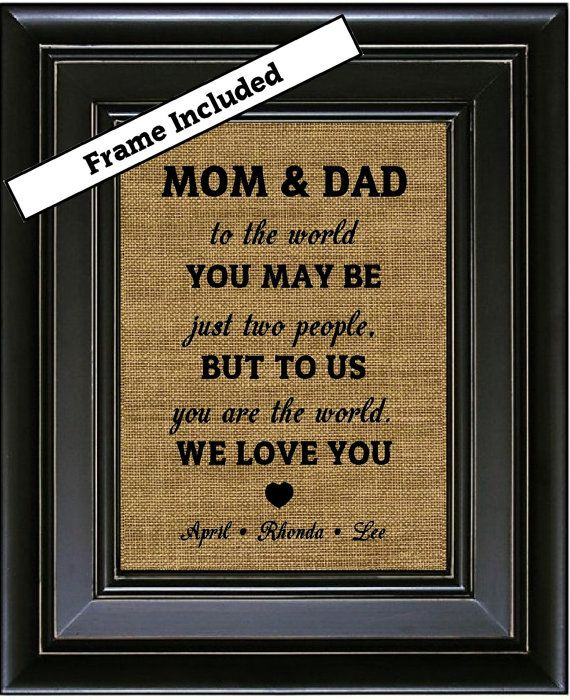 framed personalized gift for mom and dad from kids by burlapnglass ideas dads christmas gifts