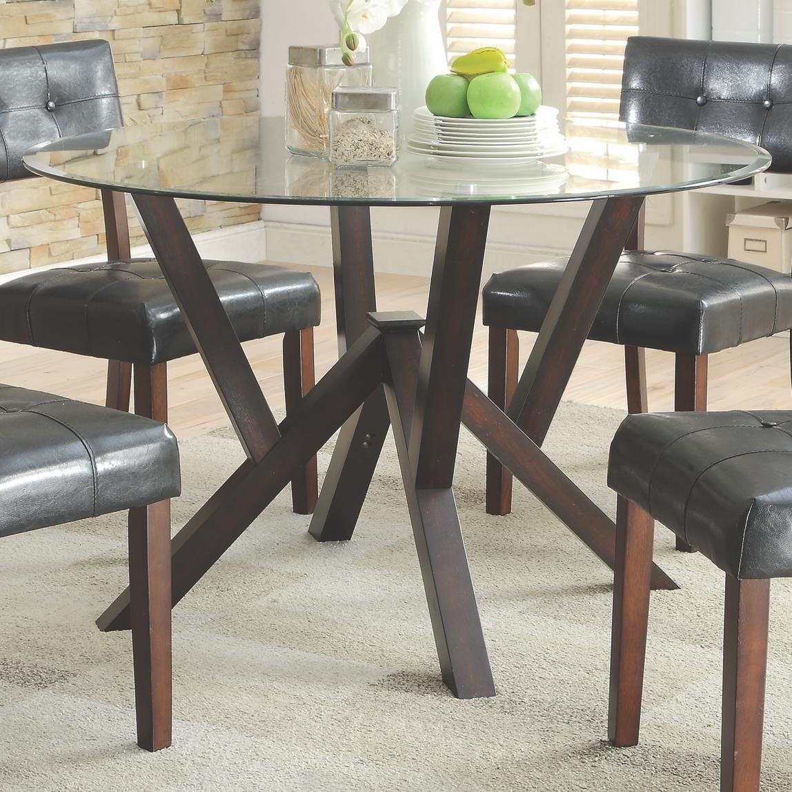 Coaster Beaux Contemporary Round Glass Top Dining Table