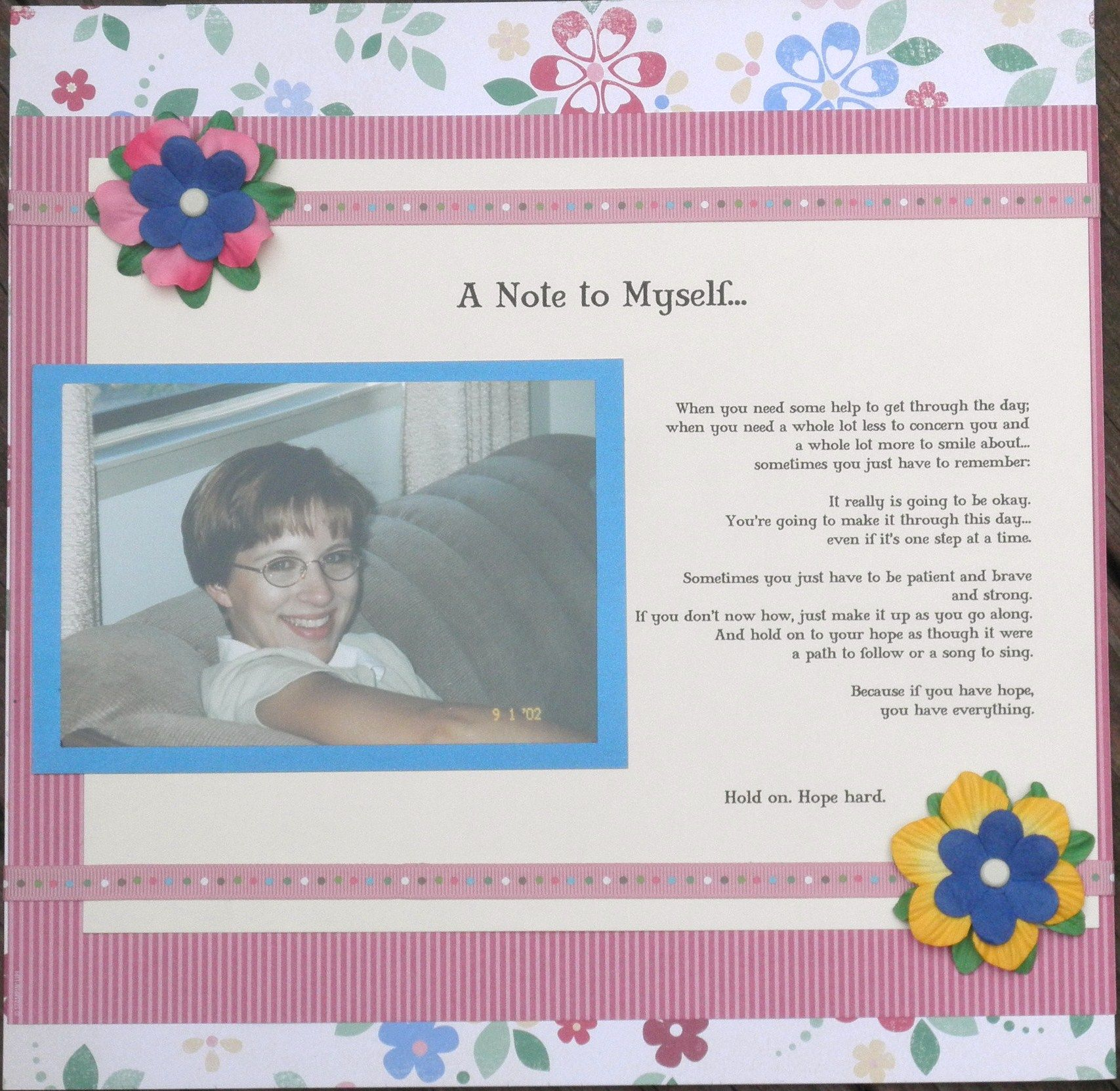 A Note to Myself... layout - Scrapbook.com