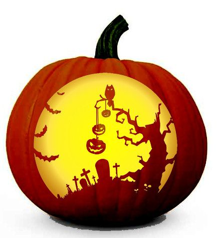 Image Detail for - Scary Halloween Tree in a Graveyard - Pumpkin - pumpkin carving template