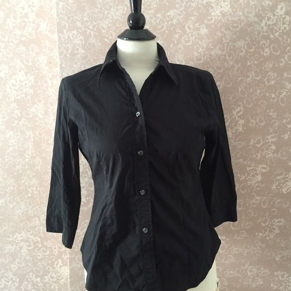 ✂️Black Button Down Shirt Blouse 3/4 Sleeve S Black Button Down Shirt Blouse 3/4 Sleeve Small S by New York Company City Stretch Polyester Cotton Spandex blend Gently Pre-Owned Trades New York & Company Tops Button Down Shirts