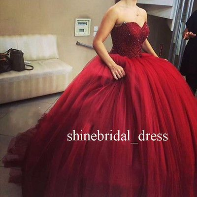 Sweet 15 16 Burgundy Quinceanera Dresses Puffy Prom Formal Ball