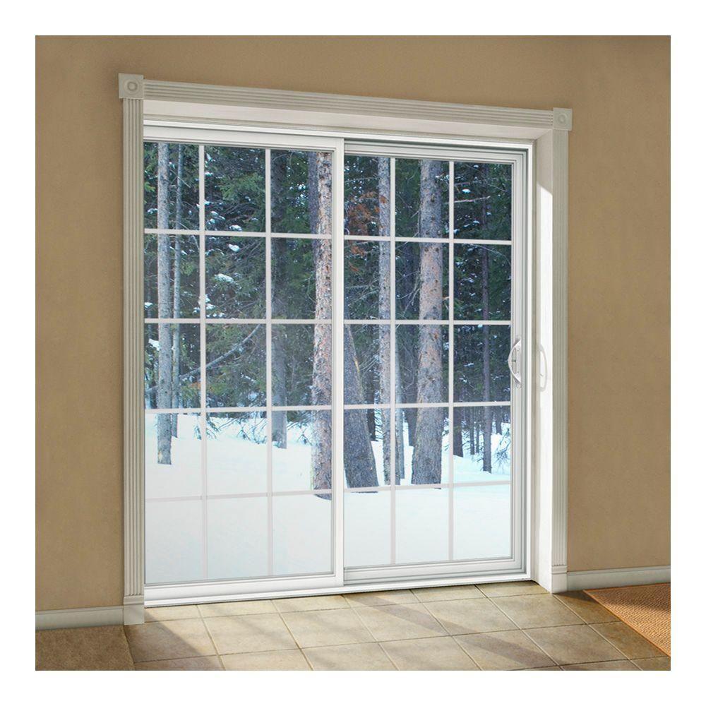 Jeld Wen 60 In X 80 In V 2500 White Vinyl Left Hand 15 Lite Sliding Patio Door W White Interior Thdjw181500219 With Images Vinyl Sliding Patio Door