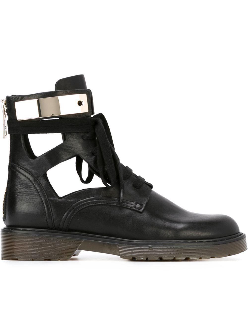 ab8d2ec47 See By Chloé Cut-out Combat Boots - Deliberti - Farfetch.com   pin ...