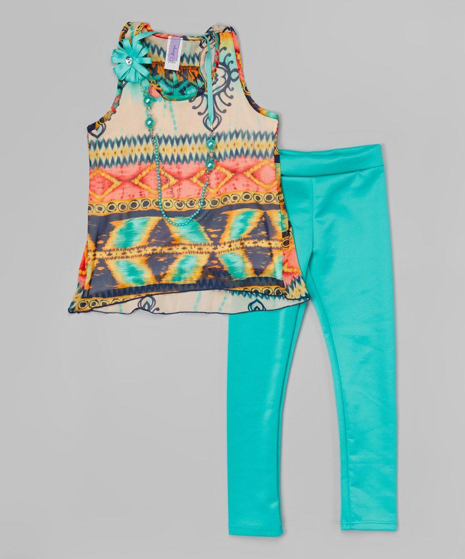 Mint & White Tribal Tunic Set - Toddler & Girls by Maya Fashion #zulily #zulilyfinds