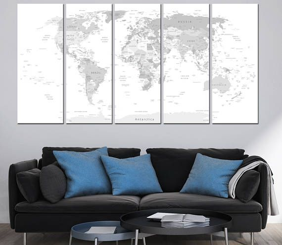 Large world map wall art with countries names canvas printextra large world map wall art with countries names canvas printextra large grey world map home decor world map canvas print ready to hang gumiabroncs
