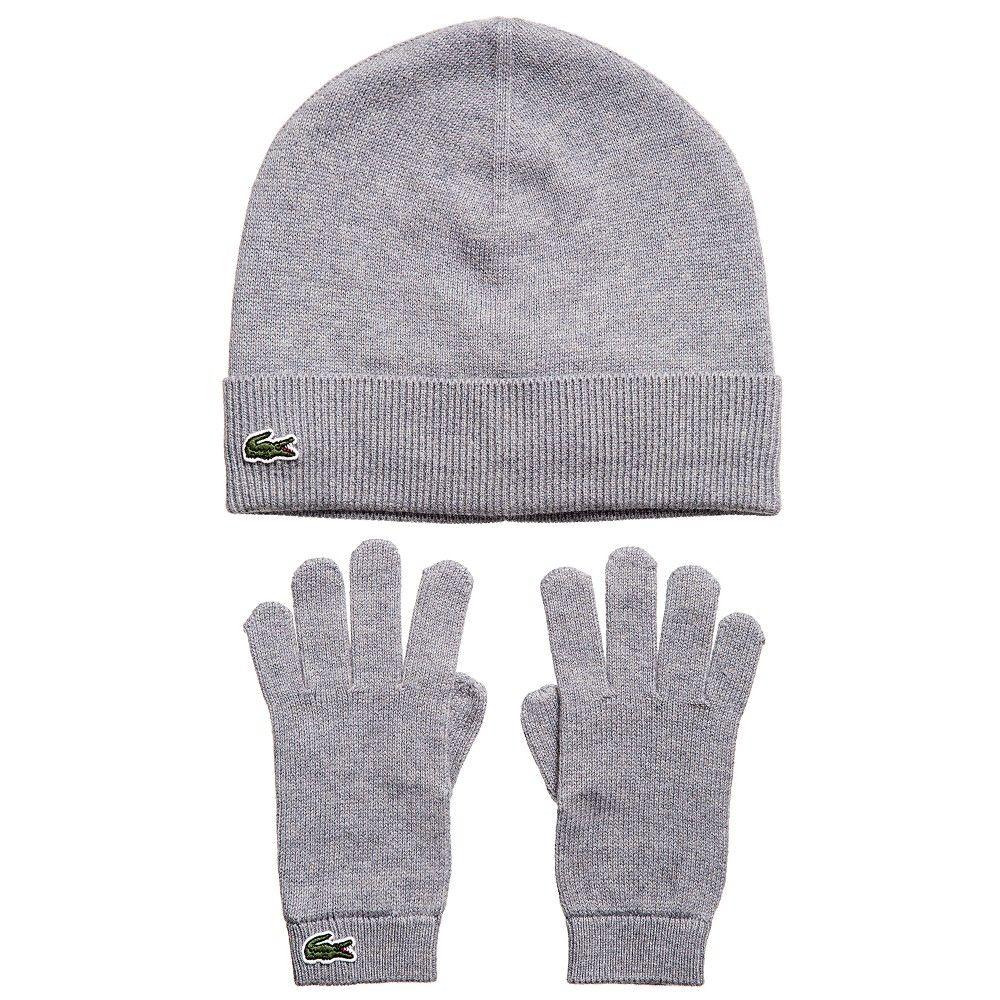 7572e1f99 Grey Cashmere Blend Hat   Gloves Set. LacosteCashmereGloves
