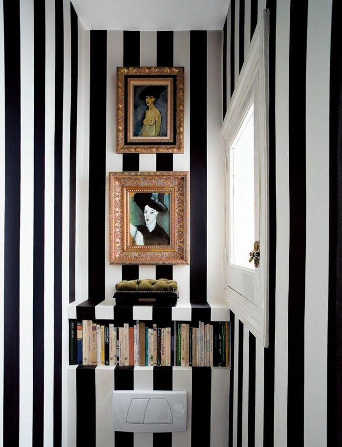 Miami Wohnung Schwarz Weiße Tapeten Streifen Schick Modern Extravagant Elegant  | Project Flur | Pinterest | Weiße Tapete, Schick Und Streifen