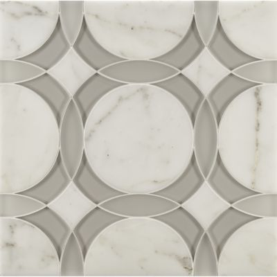 Rockefeller Circle Medium Mosaic In Moonstone White Frost Gl Clear And Calacatta