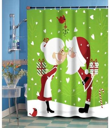 Kissing Claus Fabric Shower Curtain Walmart Com Christmas