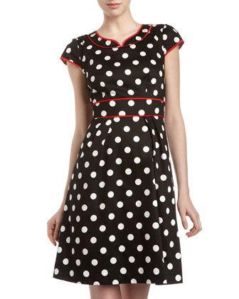 Chetta B Polka-Dot Contrast-Trim Dress - Last Call by Neiman Marcus $73.50