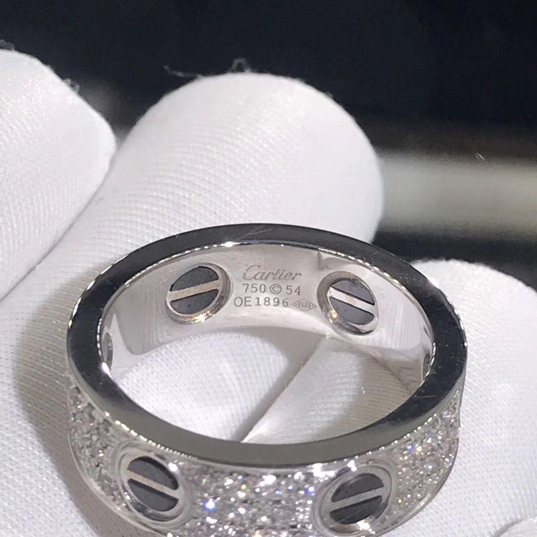 55f2567bbd Cartier Love ring 18K white gold paved diamonds black ceramic ...