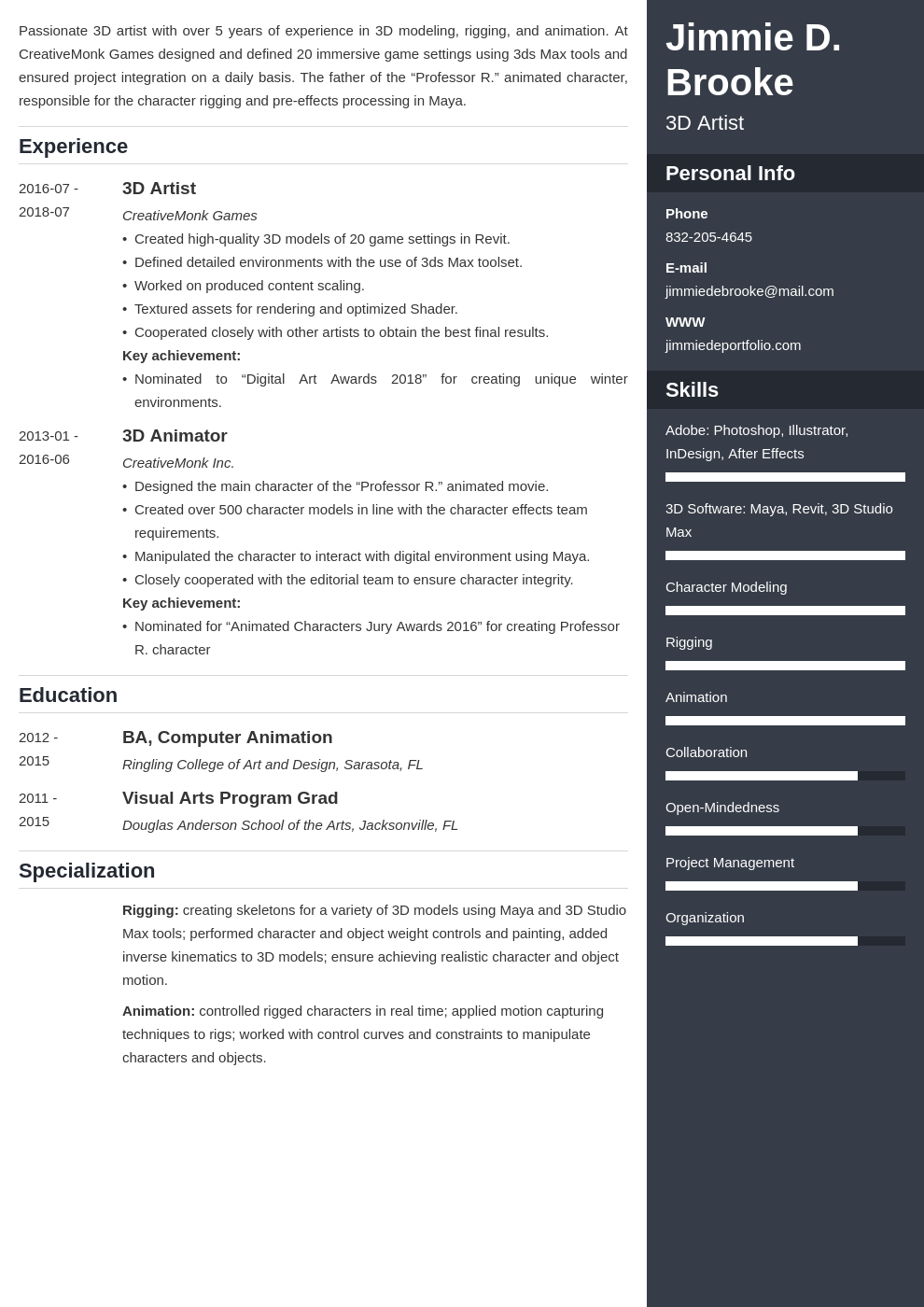 3d Artist Resume Example Template Enfold Resume Examples Artist Resume College Resume
