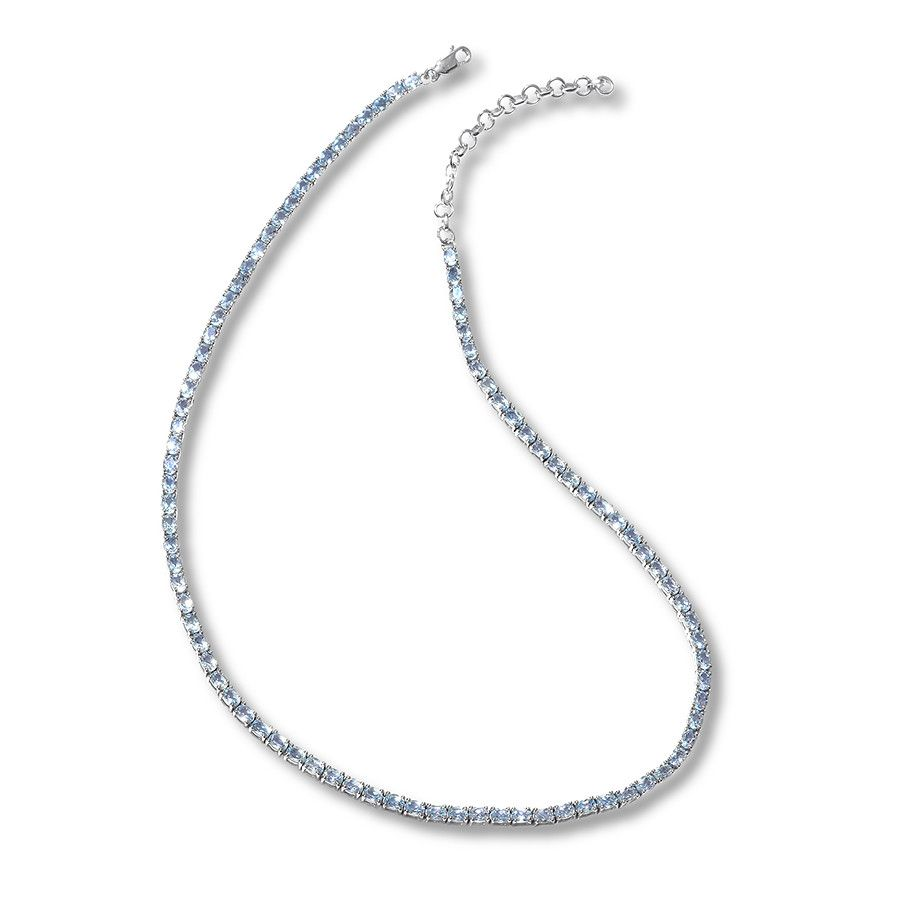 Blue Topaz Tennis Necklace Sterling Silver 16.25