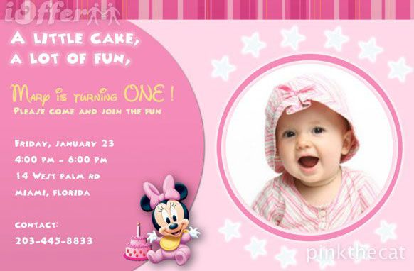 1st birthday invitations girl template bTK028Vi – Free First Birthday Invitations Templates