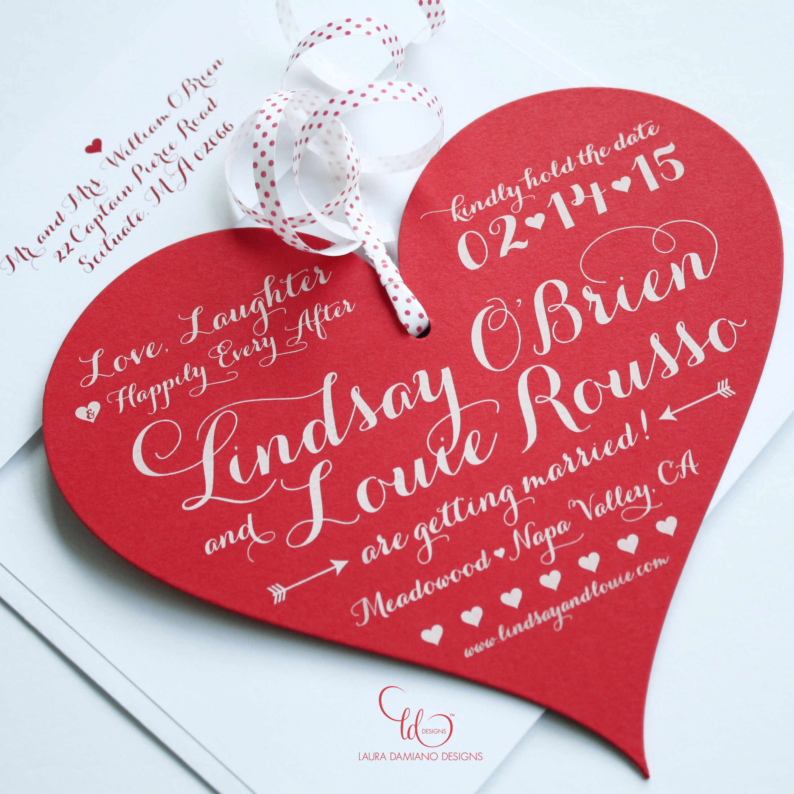 Custom die cut + white ink heart Save the Date | Our Designs ...