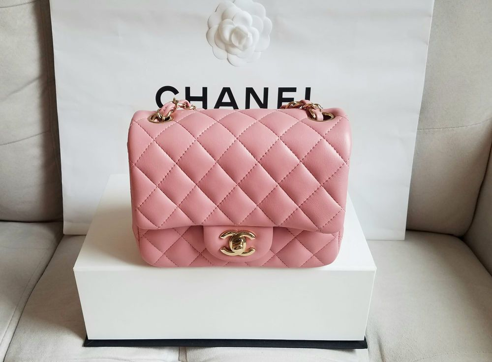 f5b13e57b3b49c 2017 Authentic pink lambskin quilted leather Chanel classic mini flap bag  with light gold hardware, chain strap, back pocket, and interlocking CC  turn-lock ...
