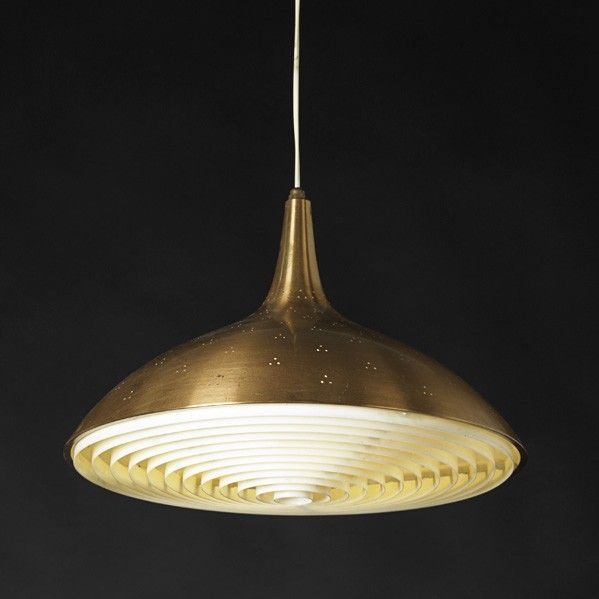Paavo Tynell; Spun and Enameled Copper Ceiling Light for Taiti Oy, c1950.