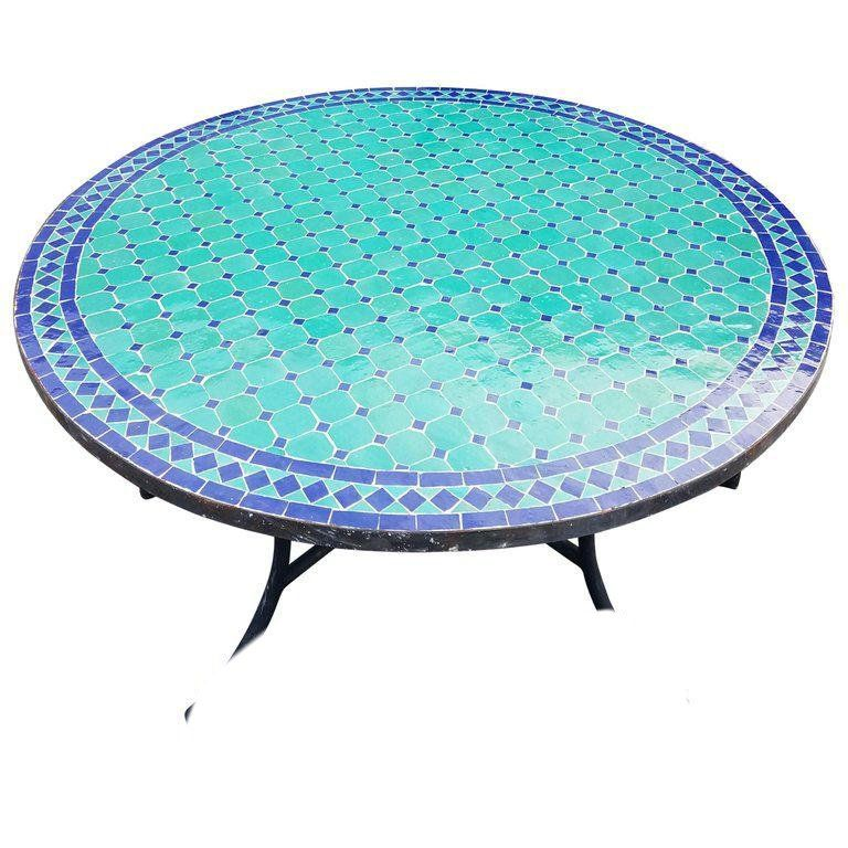 Moroccan Round Mosaic Table In Blue Aqua Mosaic Table Mosaic Tile Table Vintage Dining Room Table