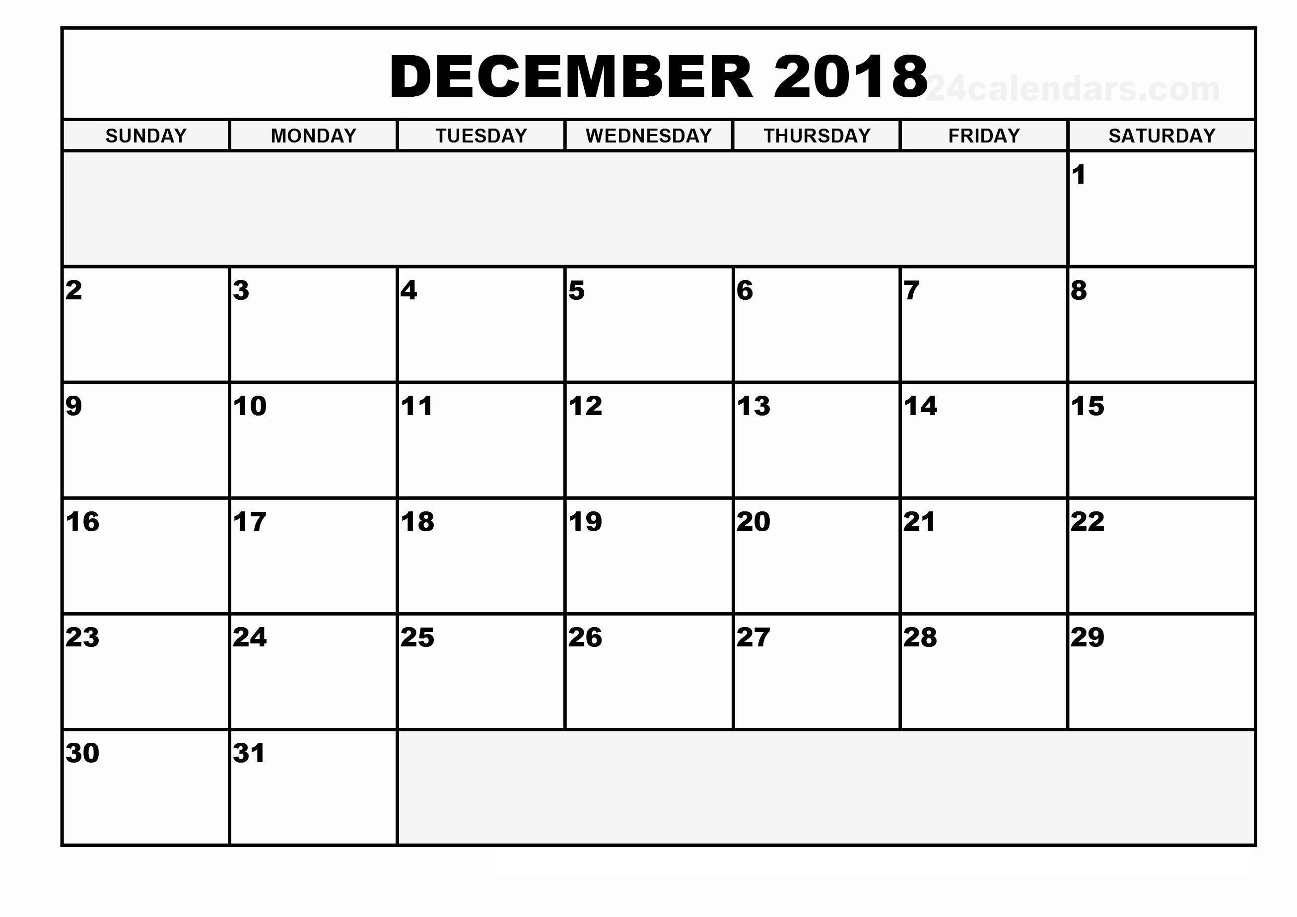 December Printable Calendar Manage Work