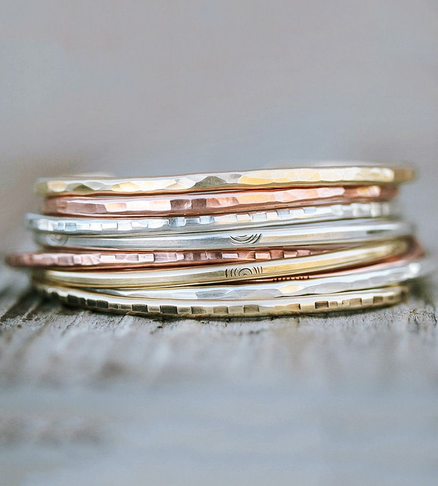 Textured Metal Cuffs, Set of 9 by Amy Waltz Designs on Scoutmob