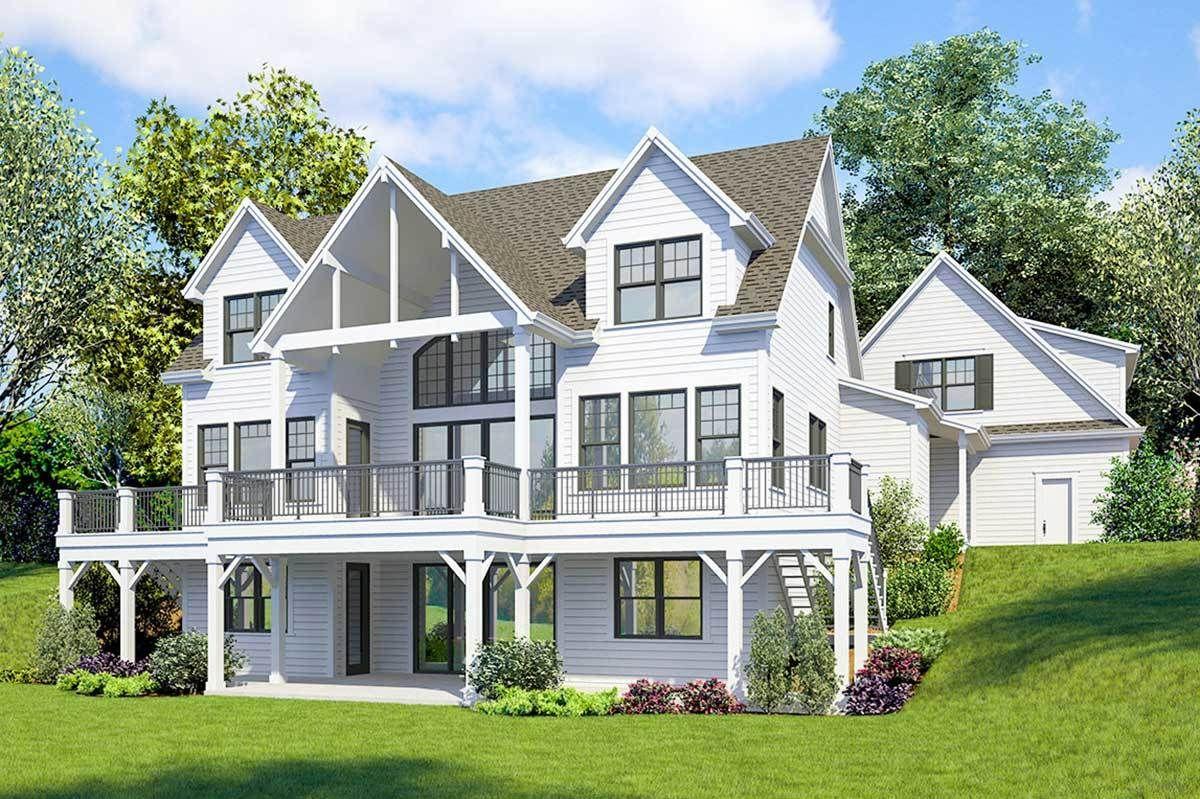 Plan 23771jd Striking 4 Bed Farmhouse Plan With Walk Out Basement In 2020 Lake House Plans Farmhouse Plans Basement House Plans
