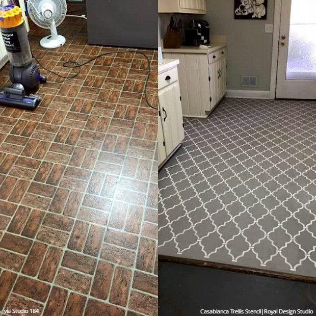 Paint vinyl linoleum with floor stencils 8 diy decor ideas solutioingenieria Images