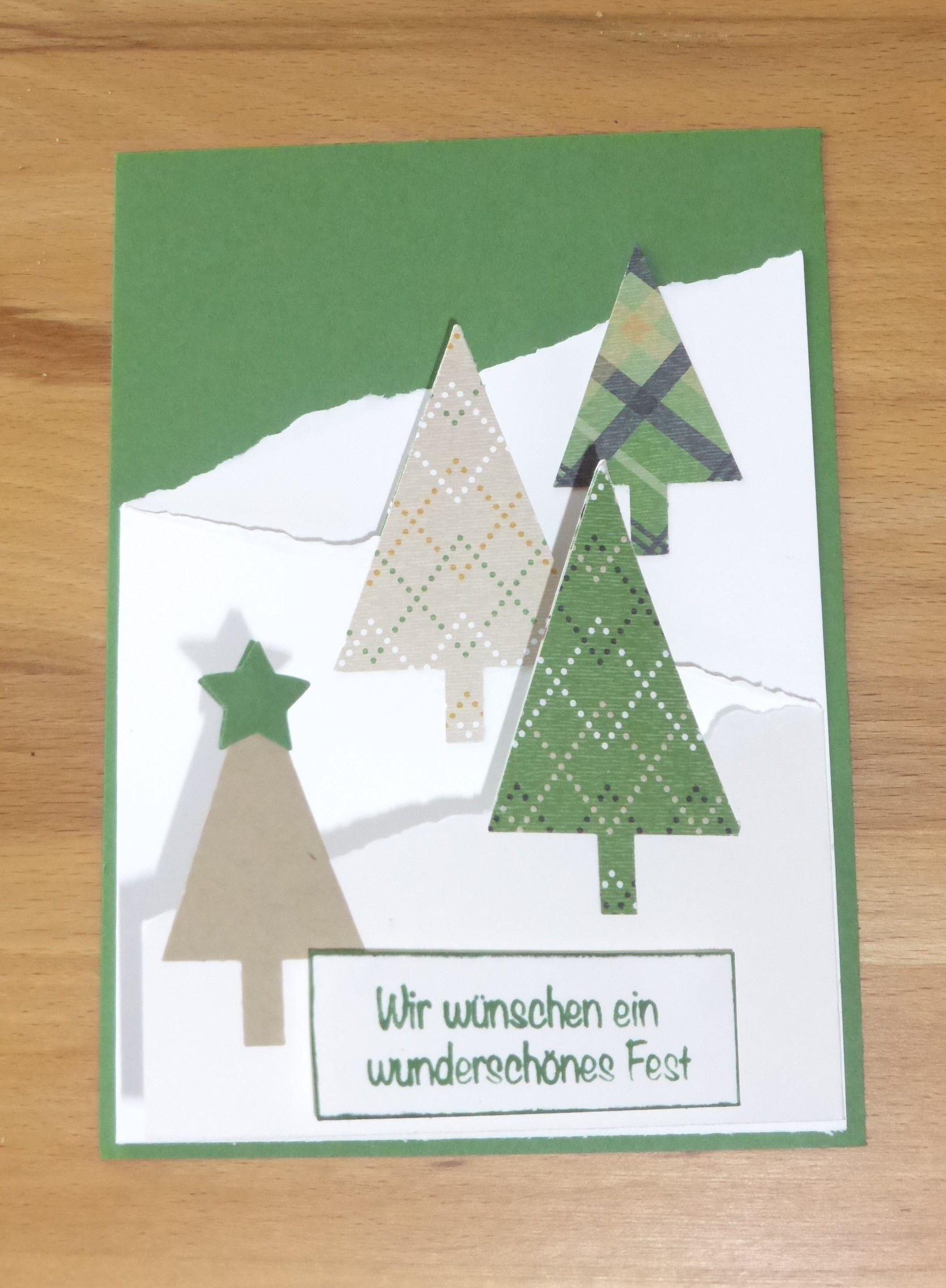 Weihnachtskarte Selbst Gemacht Tannenbäume | Selbst Gemacht Weihnachtskarten  | Pinterest.