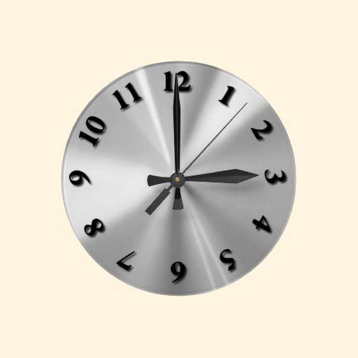 Stainless Steel Round Clock Zazzle Com Clock Clock Design Steel Wall