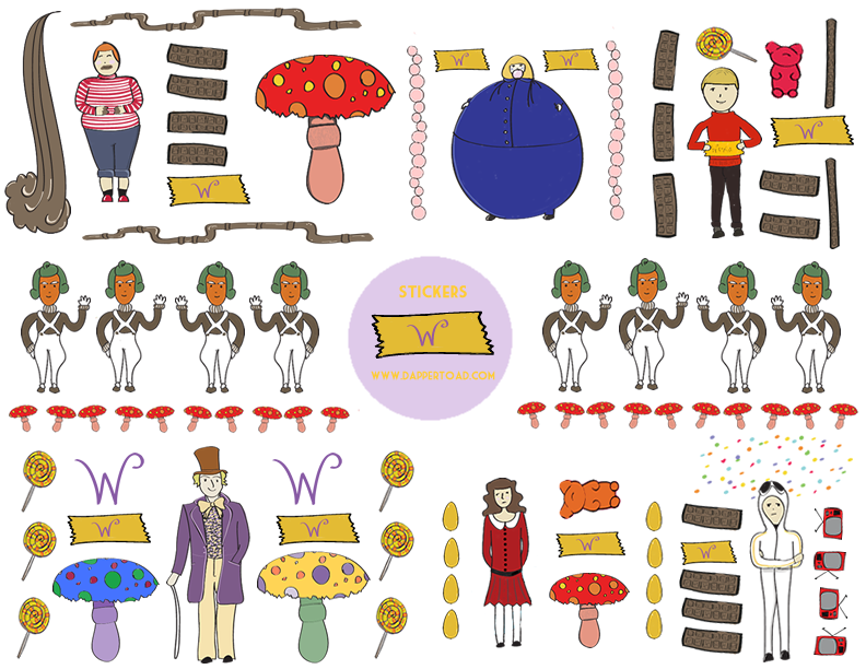 The Dapper Toad: Free Printable Willy Wonka Stationery and Sticker ...