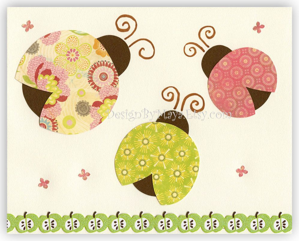 Nursery Wall Art Baby Room Decor Ladybug..Trio Ladybug, green, pink ...
