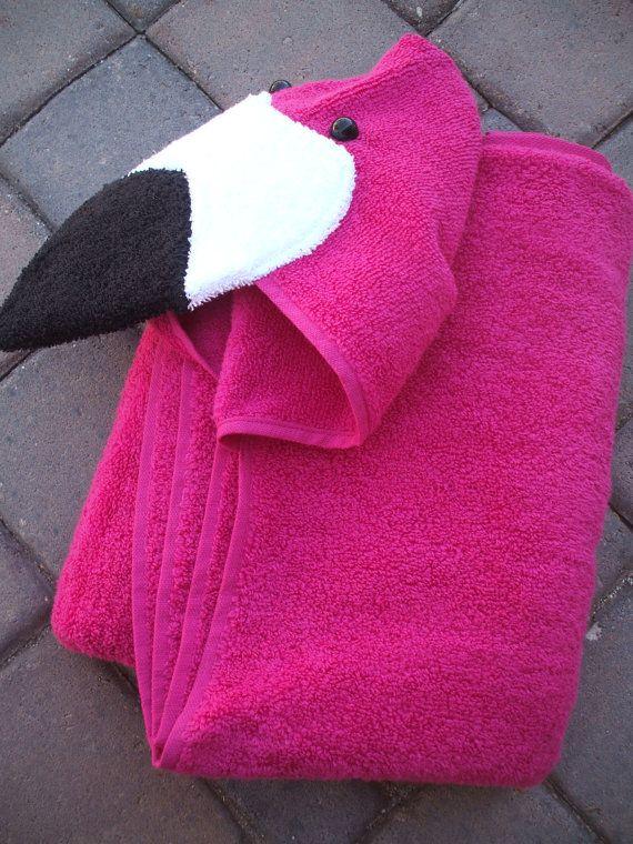 Pink Flamingo Hooded Bath Towel For Bath Pool Beach