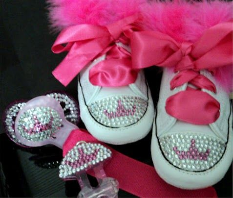 Love the shoes, lose the pacifier. Rhinestone Baby Shoes & Pacifier