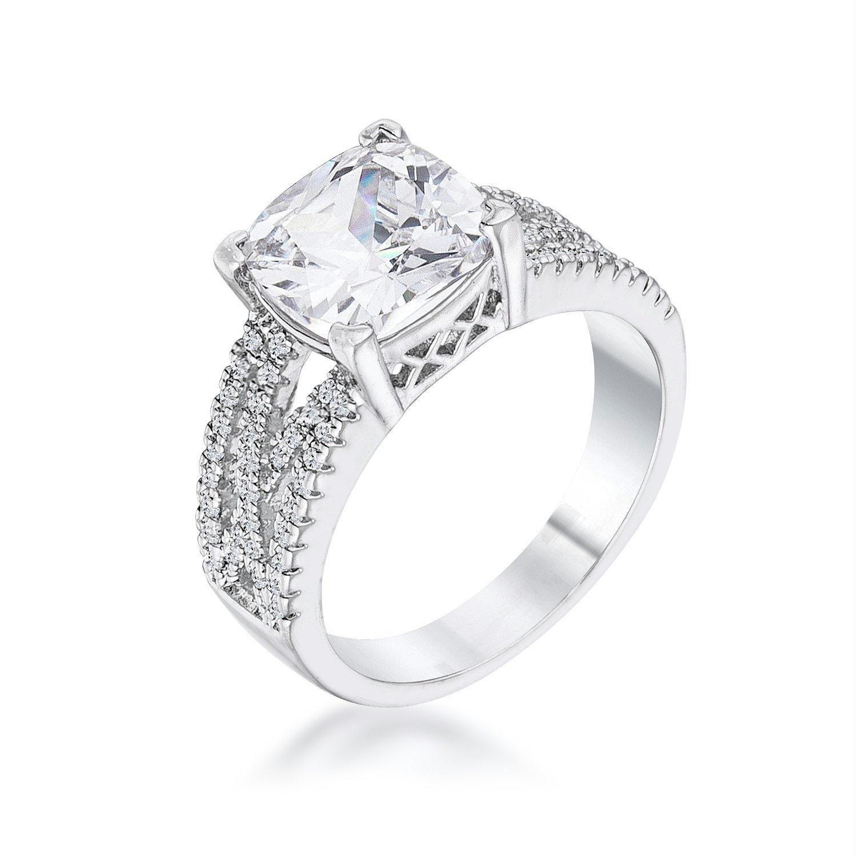 3Ct Elegant Silvertone CrissCross Clear CZ Engagement
