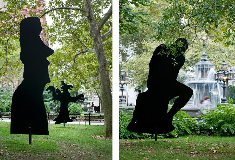 Peter Coffin, Left, Moai Easter Island Head, circa 1250 - 1500. Right, A. Rodin, The Thinker, 1880,  2009, James Ewing, courtesy of Public Art Fund, http://www.thisistomorrow.info/viewArticle.aspx?artId=163=Peter%20Coffin:%20Untitled%20(Sculpture%20Silhouettes)