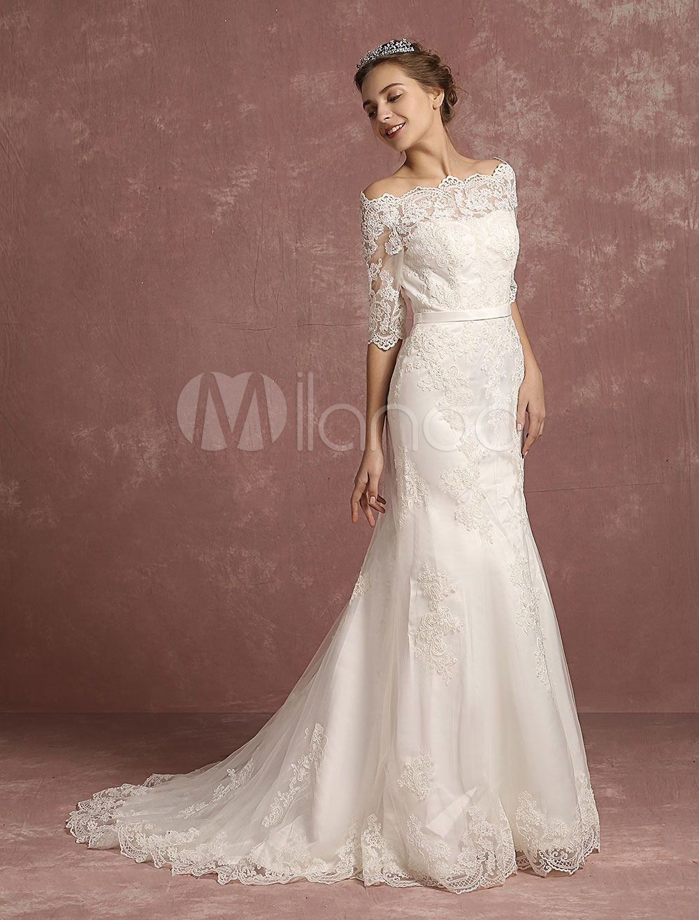 Mermaid wedding dress lace half sleeve bridal gown bateau beaded