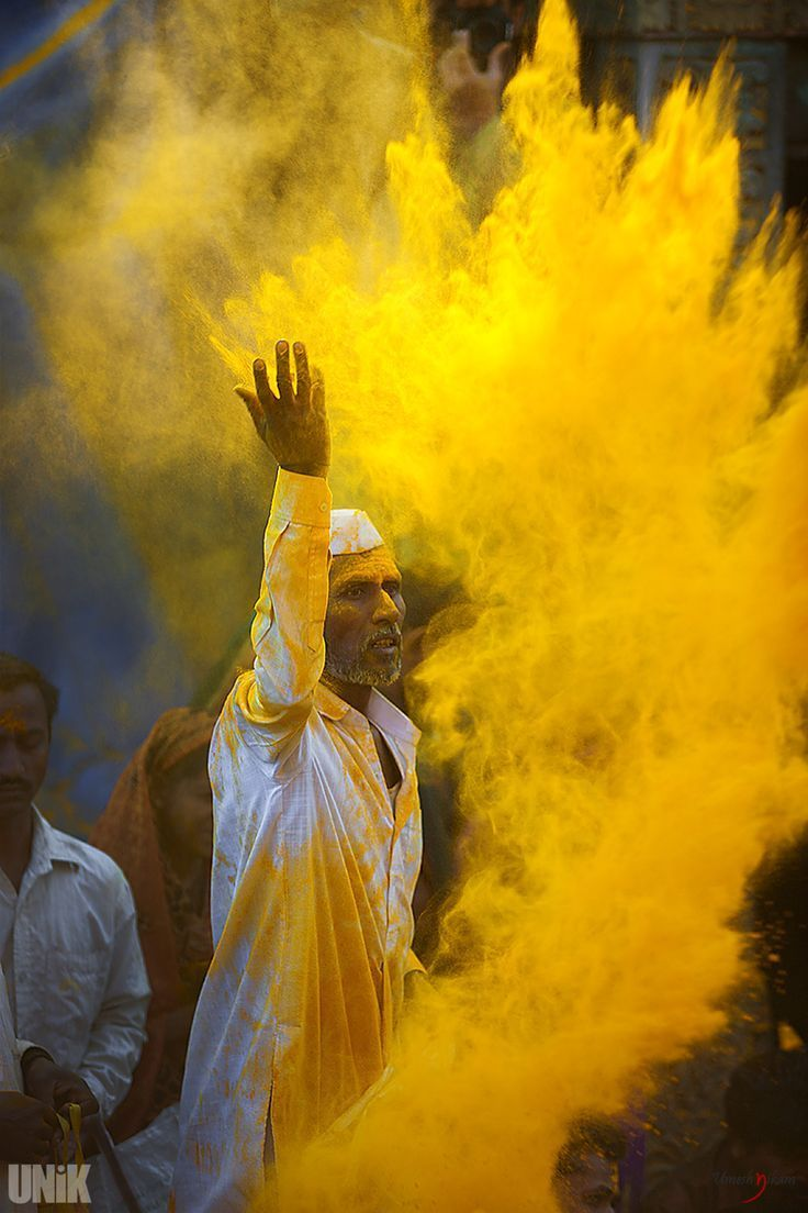 Yellow Happy Holi, India No,it is turmeric powder offered to god ...