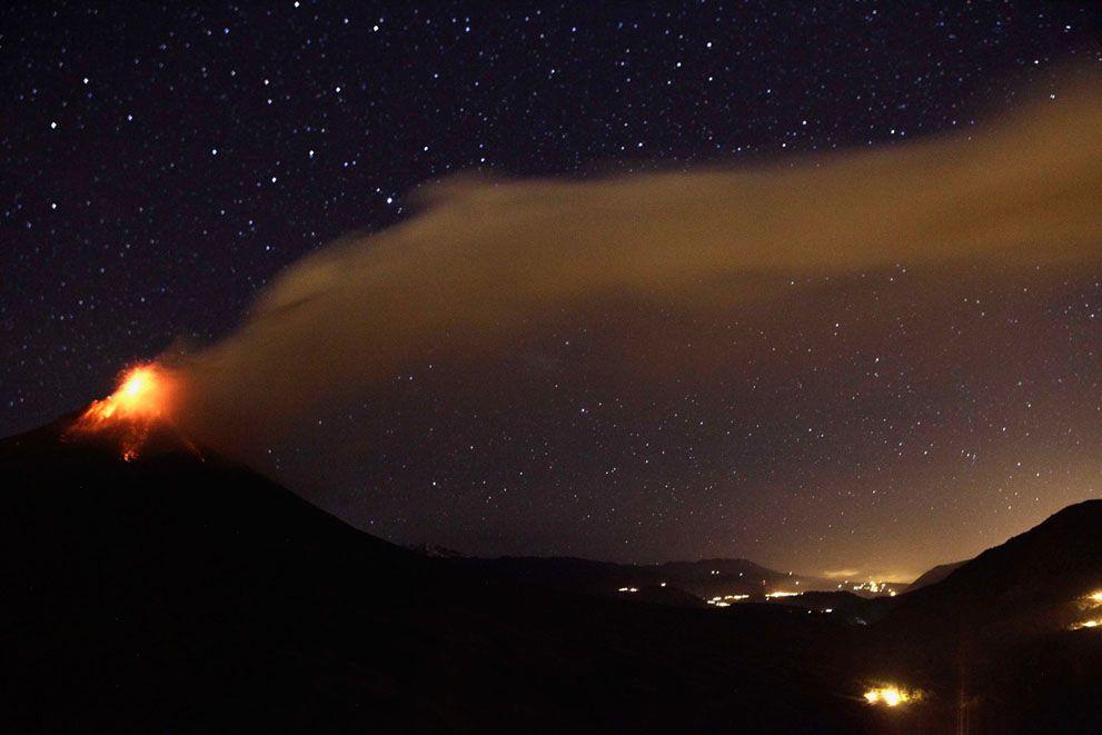 Erupción del volcán Tungurahua ocurrida el 21.08.2012.