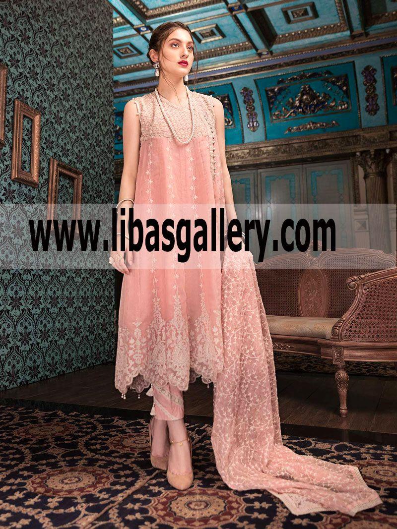 Pink dress design 2018  Baby pink Color Sleeveless Style Grand Quality Edenrobe Eid Festive